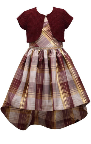 Bonnie Jean Big Girls 7-16 2 Piece Plaid Holiday Cardigan Dress Set