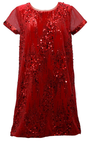 Bonnie Jean Big Girls 7-16 Short Sleeve Sequin Glitter Red Holiday Dress