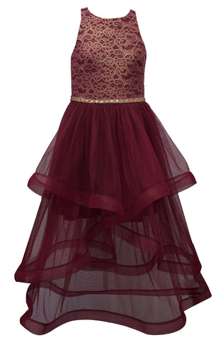 Bonnie Jean Big Girls 7-16 Foiled Lace Ballgown Holiday Party Dress