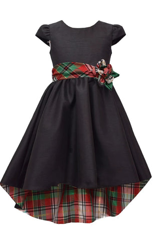 Bonnie Jean Big Girls 7-16 Plaid Cap Sleeve Black High Low Holiday Dress