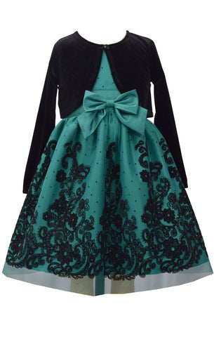 Bonnie Jean Big Girls 7-16 Velvet Cardigan Holiday Flocked Dress Set