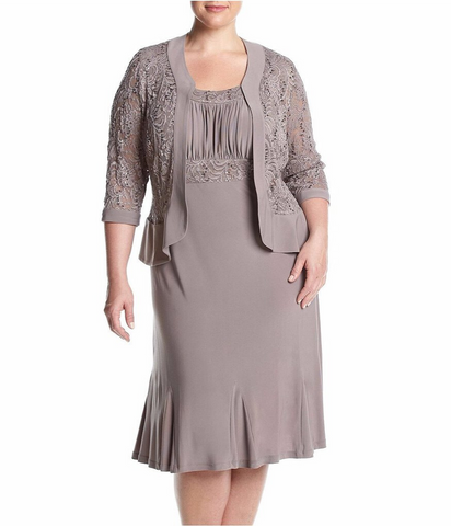 RM Richards Women's Plus Size Ruffled Trim Lace Jacket Mother of the Bride Dress