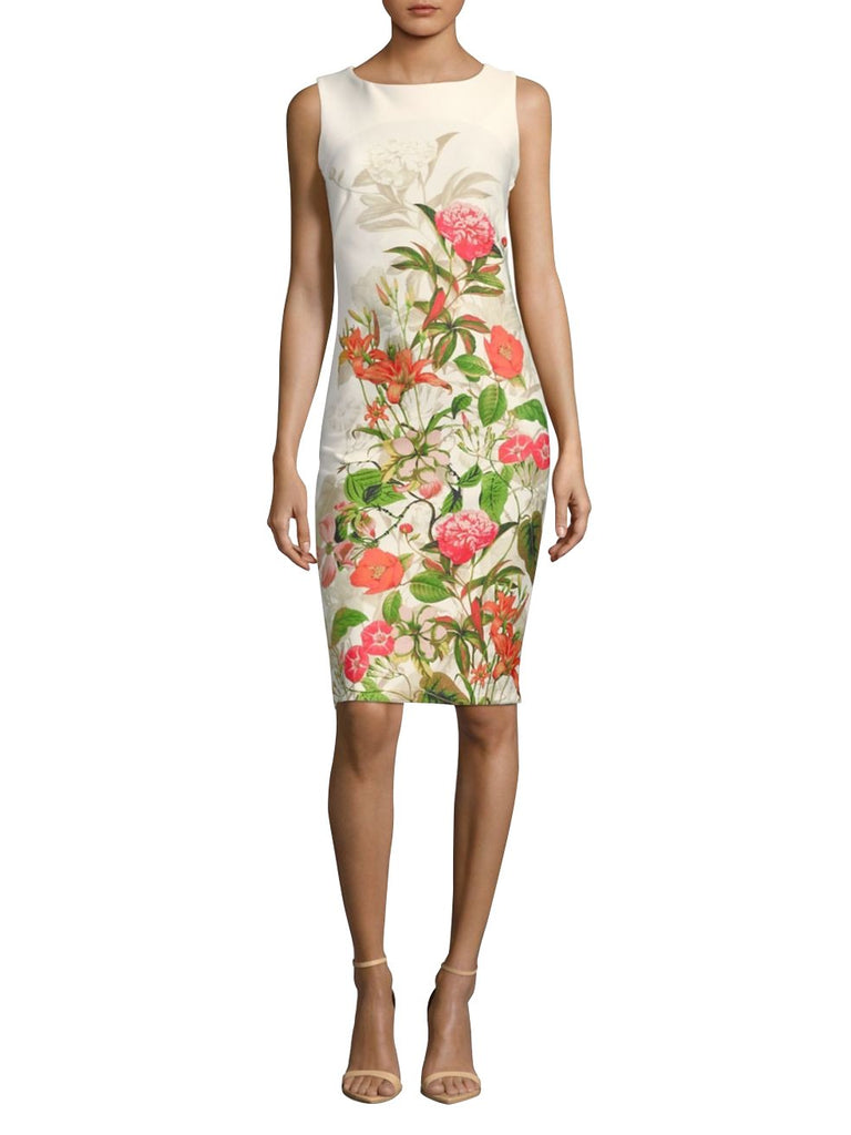 Gabby Skye Women Floral Print Sleeveless Midi Dress - Sheath Dress