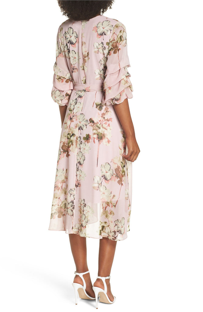 Gabby Skye Women Floral Tiered Sleeve Chiffon Dress- Summer Dress