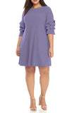 Gabby Skye Womens Plus Size Tiered Ruffled Sleeve A-Line Dress