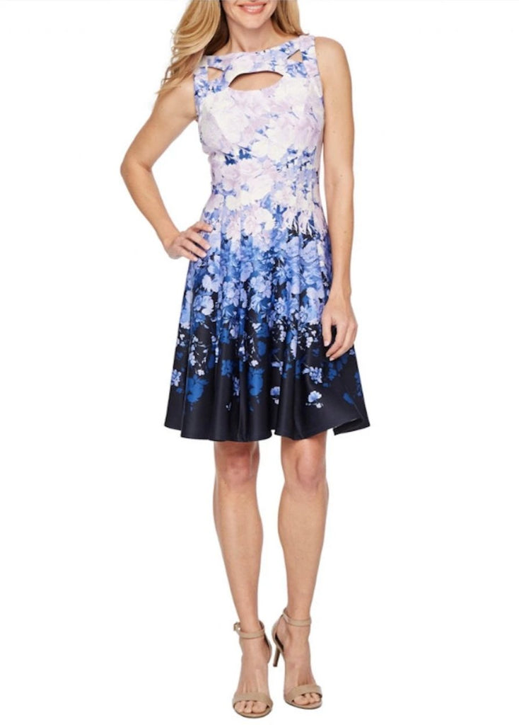 Gabby Skye Womens Cut Out Printed Floral Fit and Flare Dress