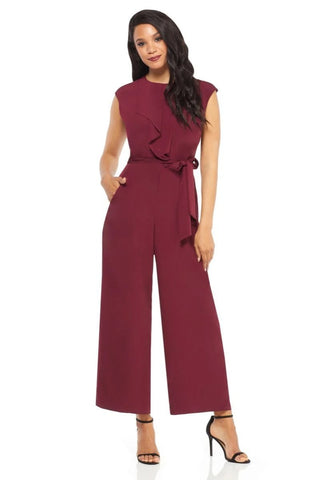 London Times Women's Ruffled Cap Sleeve Belted Jumpsuit