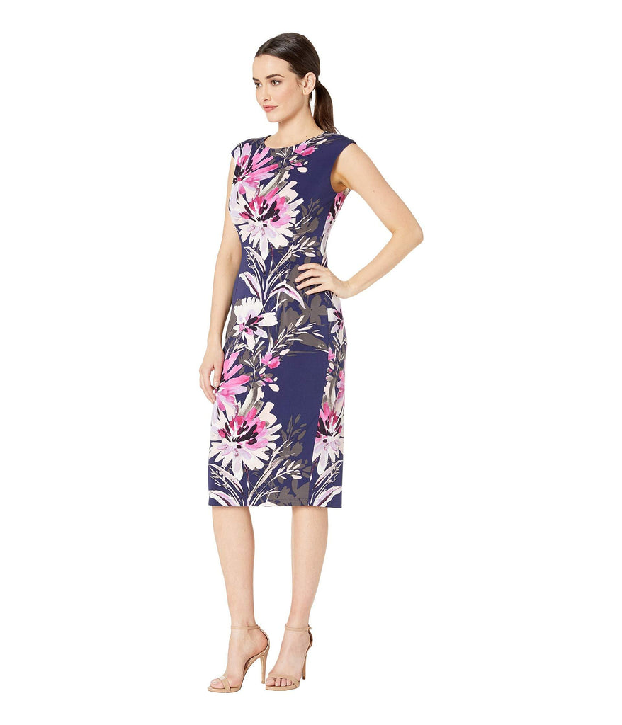 London Times Women Sleeveless Floral Midi Dress - Sheath Dress