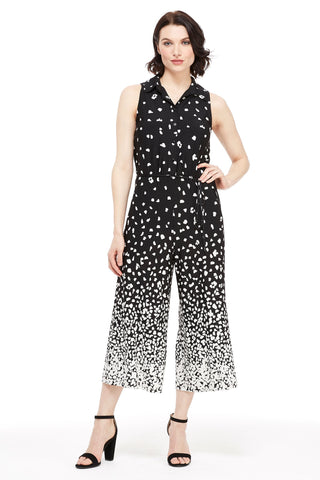 London Times Women's Sleeveless Shirt Jumpsuit