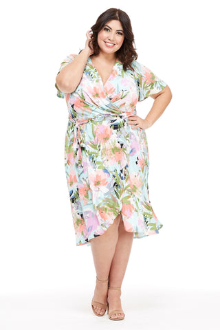 London Times Women's Plus Size Flutter Sleeve Wrap Dress- Summer Dresses