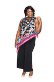 London Times Women's Plus size Sleeveless Printed Chiffon Overlay Jumpsuit