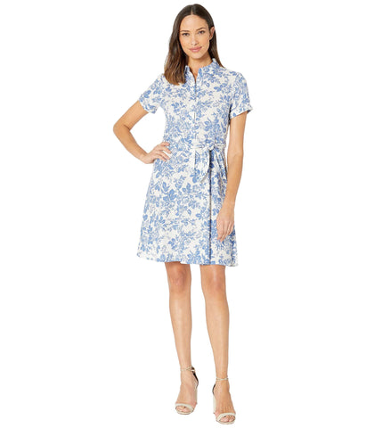 London Times Women's Button Down Fit and Flare Shirt Dress - Wear to Work