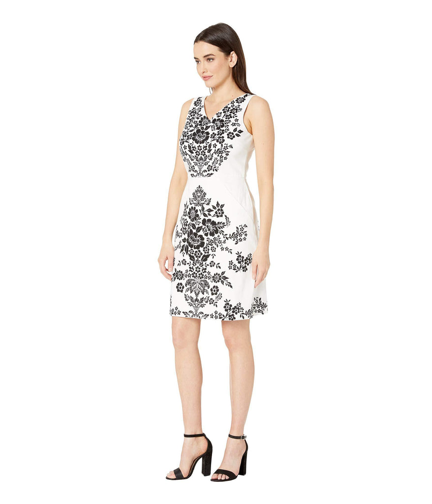 London Times Women's Sleeveless Printed A-Line Dress with Pockets