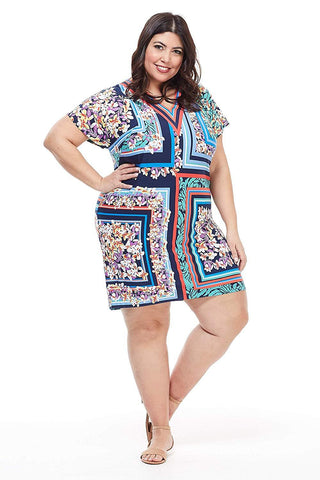 London Times Women Plus Size Short Sleeve Floral Print Shift Dress - Summer Dresses