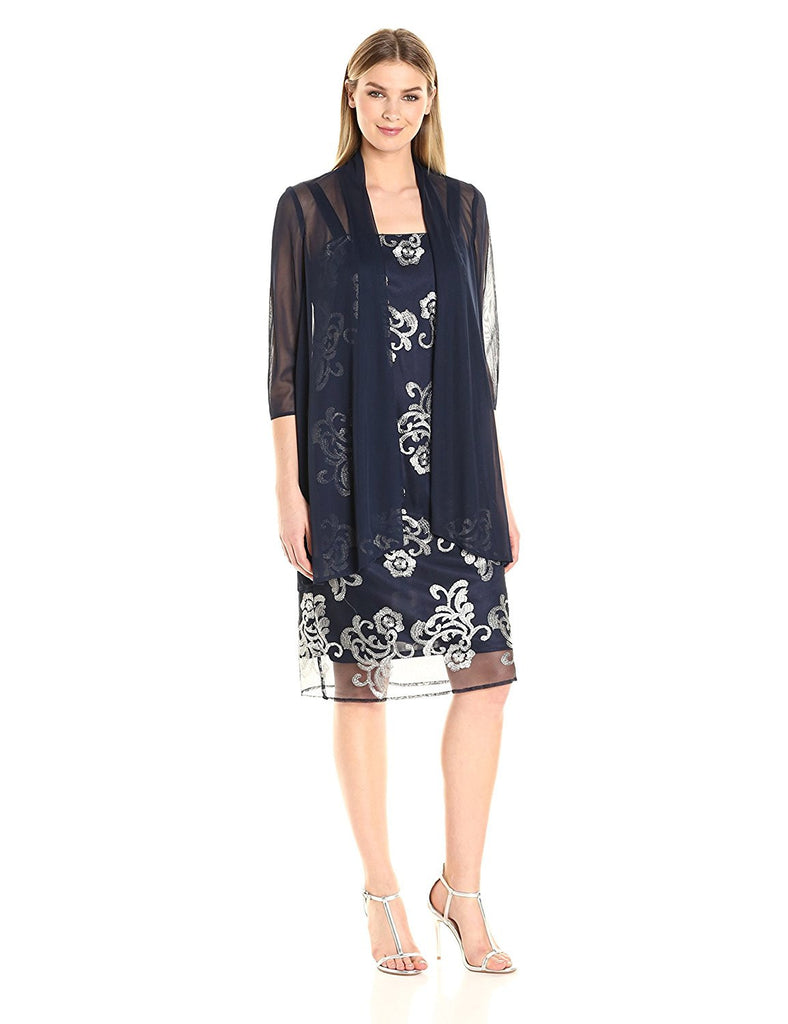 R&M Richards Women's Embroidered Jacket Dress