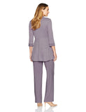 R&M Richards Women's Two Piece Metallic Rib Pantsuit- Mother of the Bride outfit