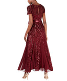 R&M Richards Women's One Piece Short Sleeve Embelished Sequins Gown