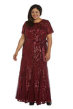 R&M Richards Women's Plus Size Long Beaded Gown