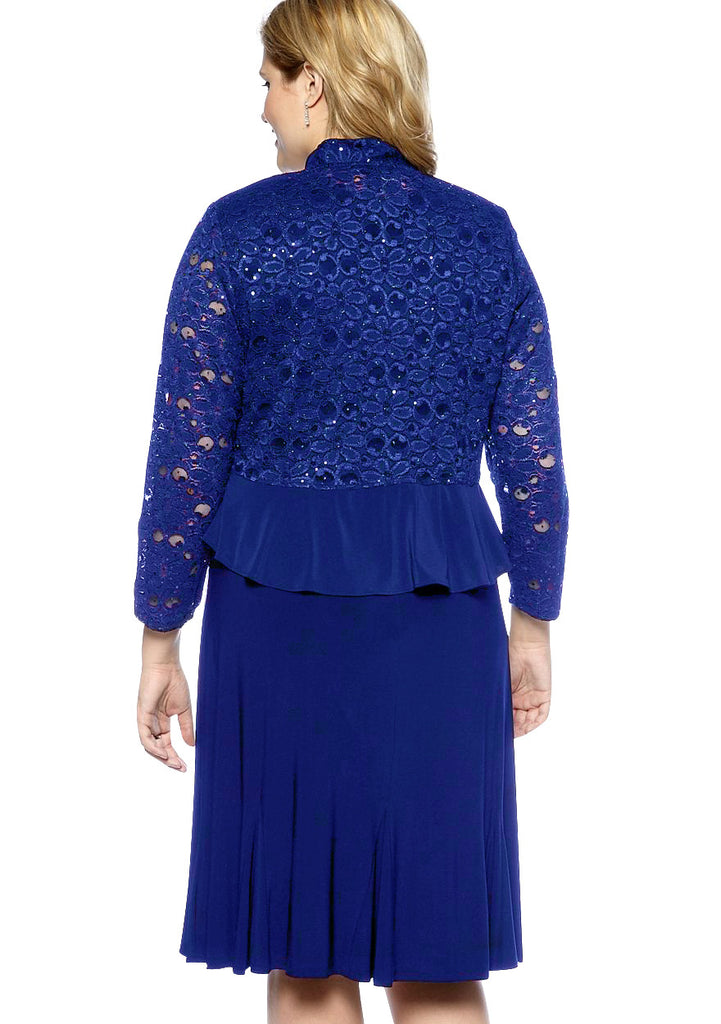 RM Richards Plus Size Lace Sequin Dress - SleekTrends - 4