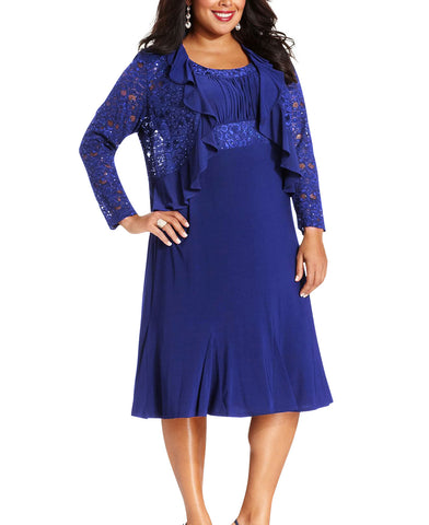 RM Richards Plus Size Lace Sequin Dress - SleekTrends - 1