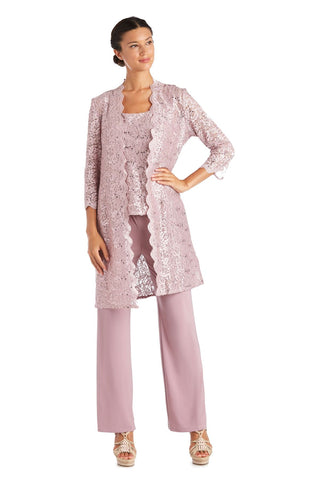 RM Richards Women's 3 Piece Scalloped Sequin Lace Pant Suit - Mother of the bride outfit