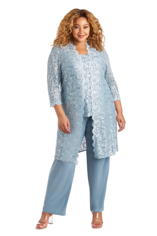 RM Richards Plus size Women's 3 Piece Scalloped Sequin Lace Pant Suit - Mother of the bride outfit