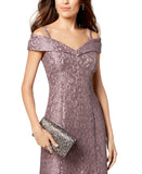 R&M Richards Women's Off-The-Shoulder Lace Gown- Mother of the Bride Dress