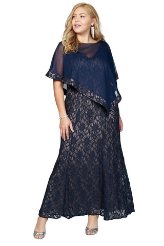 RM Richards Women's Plus Size Chiffon Overlay Sequin Lace Mother of the Bride Dress