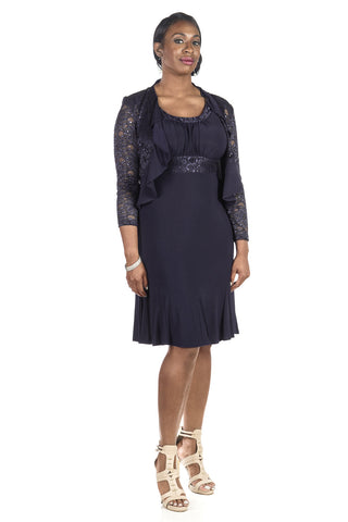 RM Richards Women Sequin Lace Ruffle Front Jacket Dress - SleekTrends - 1