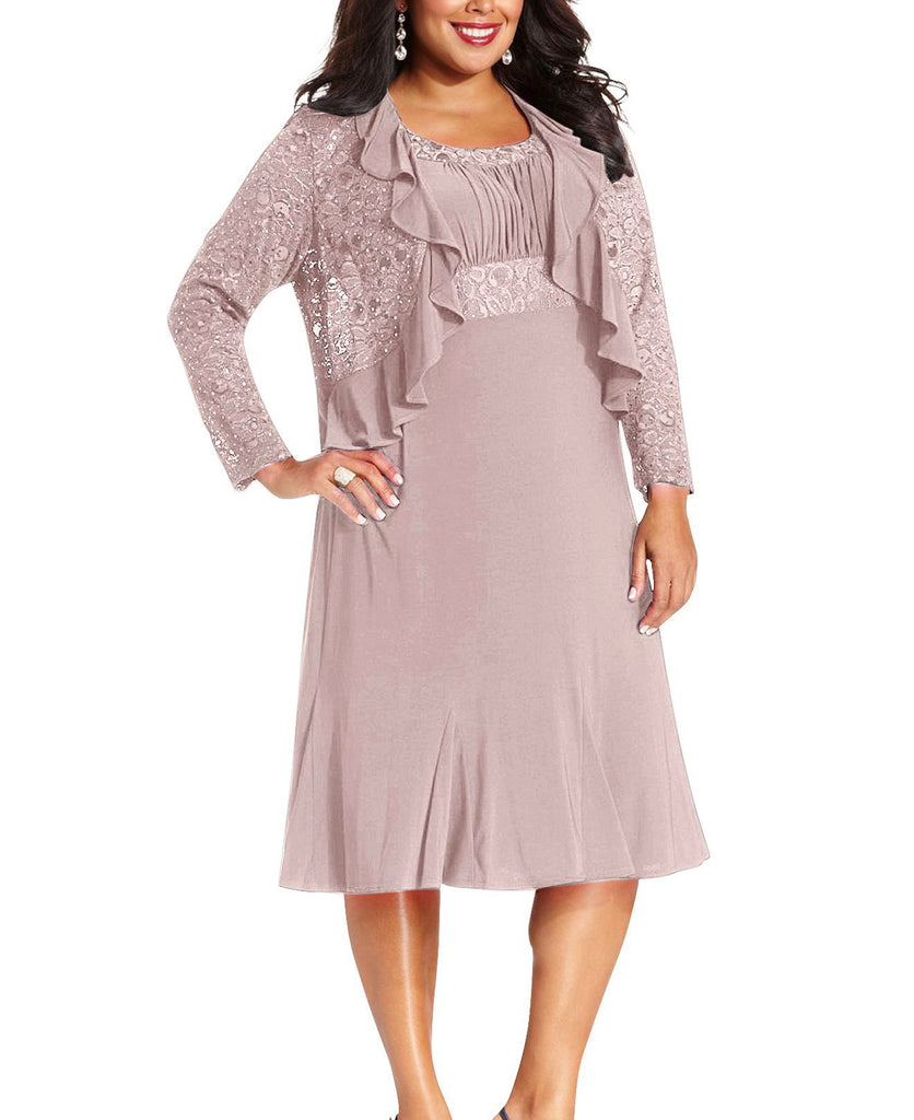 RM Richards Women's Plus Size Sequin Lace Ruffle Mother Of the Bride Dress
