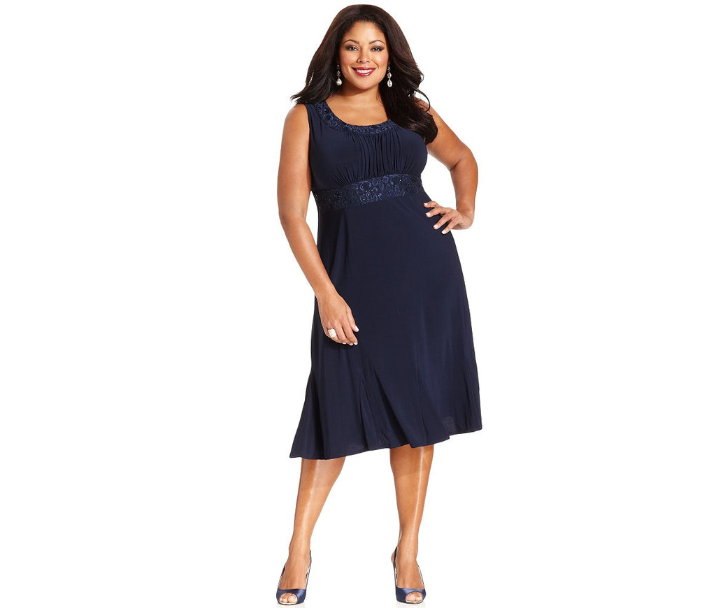RM Richards Plus Size Lace Sequin Navy Blue Dress - Navy - SleekTrends - 2