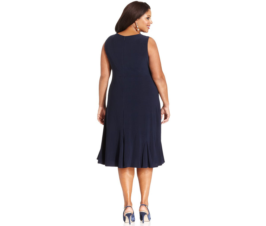 RM Richards Plus Size Lace Sequin Navy Blue Dress - Navy - SleekTrends - 3