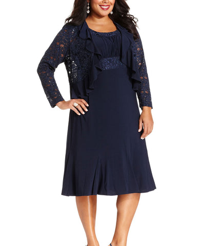 RM Richards Plus Size Lace Sequin Navy Blue Dress - Navy - SleekTrends - 1