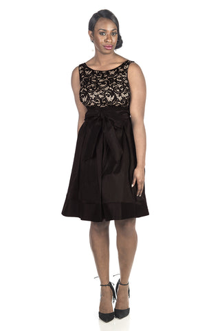 RM Richards Women's Lace Taffeta Bow Black Dress - Sleeveless with Lace Bodice Black - SleekTrends - 1