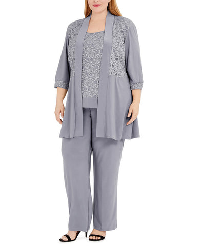 R&M Richards Plus size Women's Lace ITY 2 Piece Pant Suit - Mother of the bride outfit