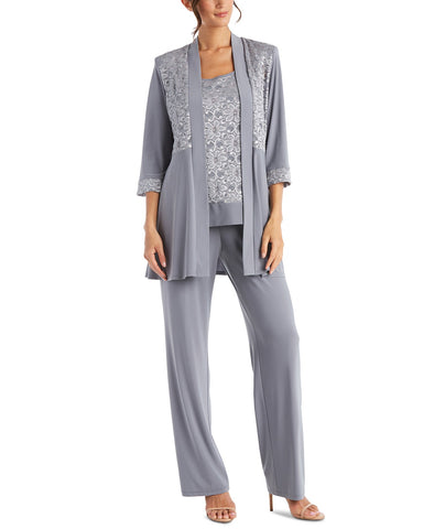R&M Richards Women's Lace ITY 2 Piece Pant Suit - Mother of the bride outfit