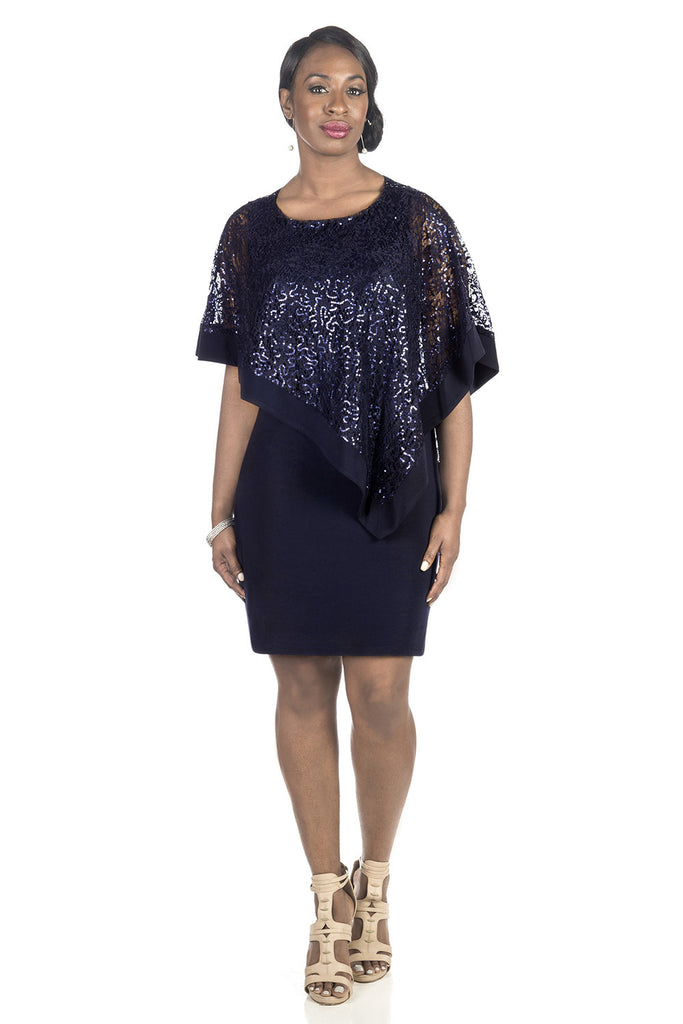RM Richards Women's Draped Sequin Lace Poncho Party Dress - Cocktail Dress - SleekTrends - 1