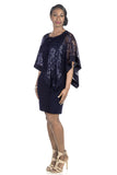 RM Richards Women's Draped Sequin Lace Poncho Party Dress - Cocktail Dress - SleekTrends - 3