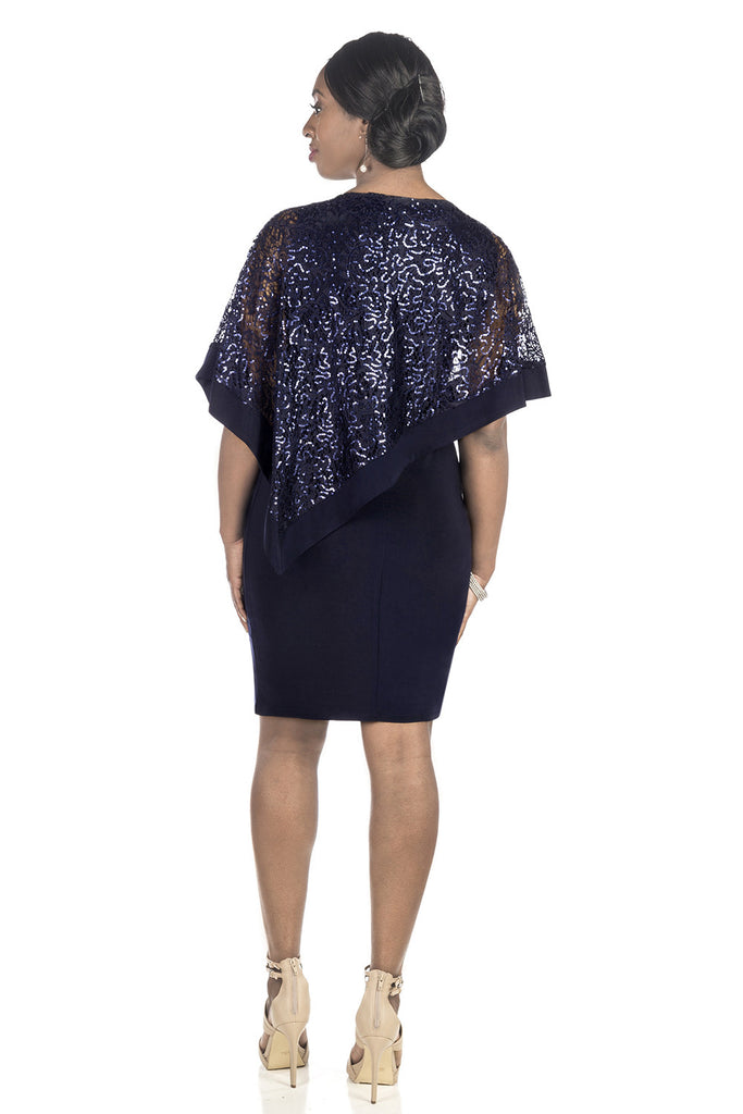 RM Richards Women's Draped Sequin Lace Poncho Party Dress - Cocktail Dress - SleekTrends - 2