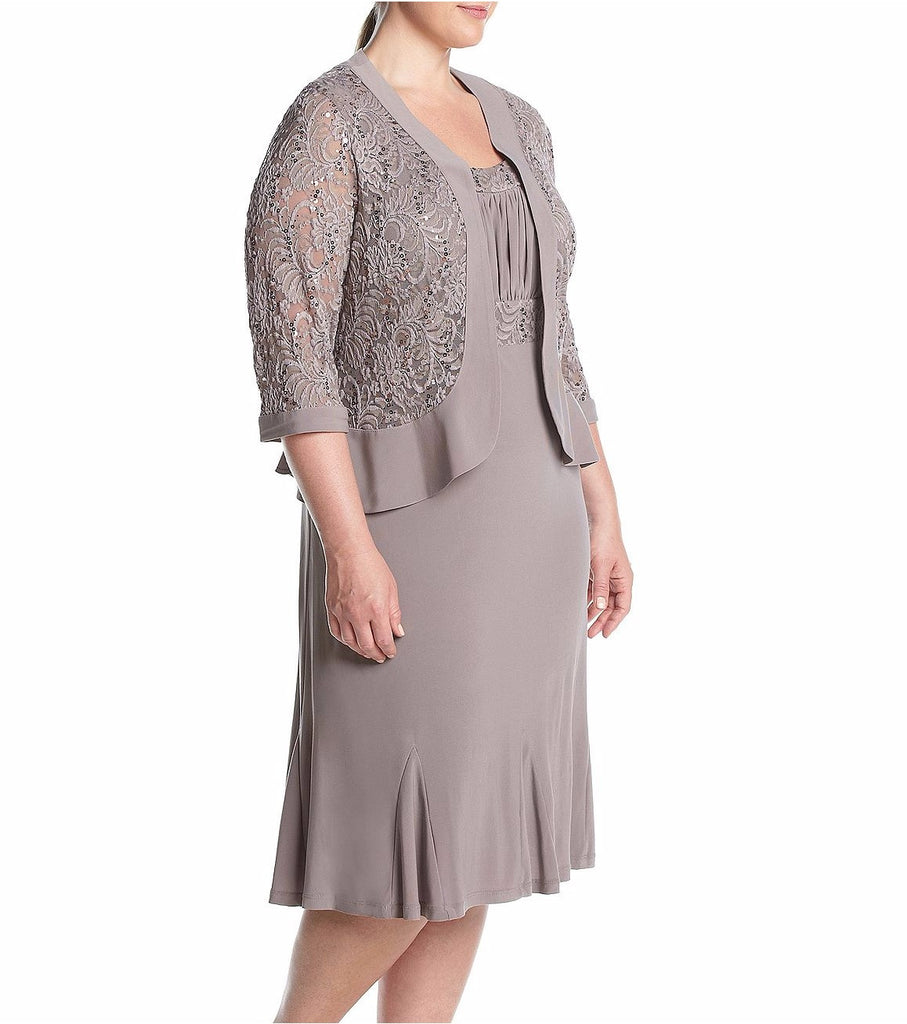 RM Richards Women's Plus Size Ruffled Trim Lace Jacket Mother of the Bride Dress - SleekTrends - 3