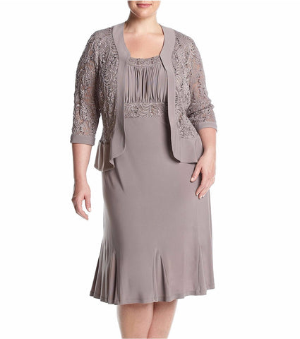 RM Richards Women's Plus Size Ruffled Trim Lace Jacket Mother of the Bride Dress - SleekTrends - 1