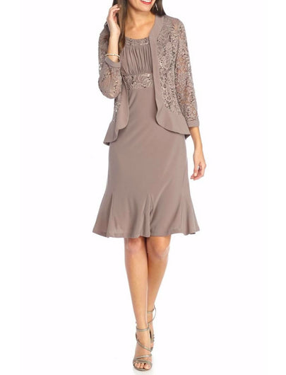 RM Richards Womens Ruffled Trim Lace Jacket Mother of the Bride Dress - SleekTrends - 1
