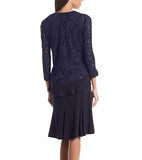 RM Richards Womens Ruffled Trim Lace Jacket Mother of the Bride Dress - SleekTrends - 6