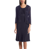 RM Richards Womens Ruffled Trim Lace Jacket Mother of the Bride Dress - SleekTrends - 5