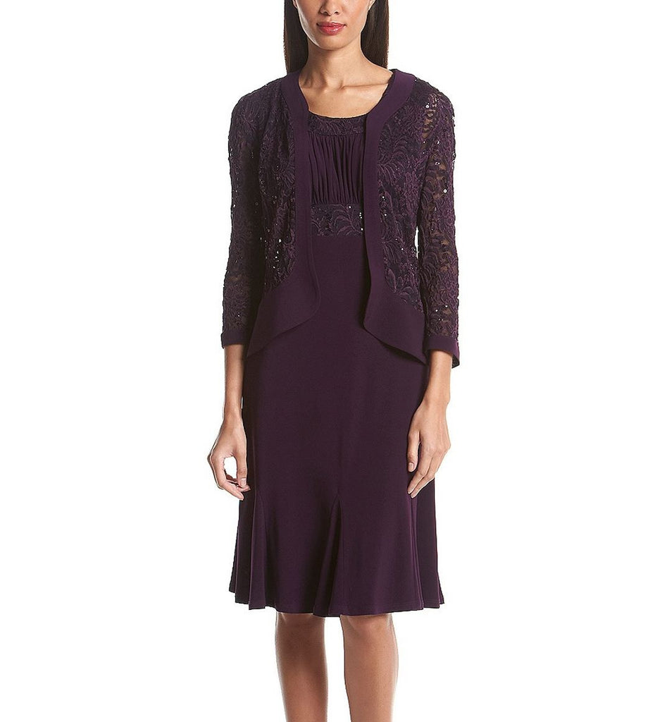 RM Richards Womens Ruffled Trim Lace Jacket Mother of the Bride Dress - SleekTrends - 2