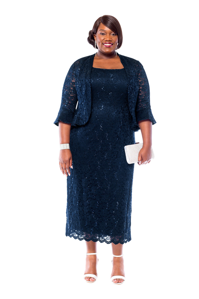 990f58aaef9ca RM Richards Women s Plus Size Sequin Lace Mother of The Bride Jacket Dress  ...