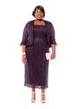 RM Richards Women's Plus Size Sequin Lace Mother of The Bride Jacket Dress