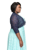 SleekTrends Plus Size Women Elbow Sleeve Sequin Lace Bolero Jacket - Dressy Shrug