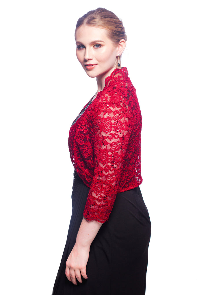 SleekTrends Women Elbow Sleeve Sequin Lace Bolero Jacket - Dressy Shrug