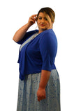SleekTrends Womens Elbow Sleeve Plus Size Open Draped Front Bolero Jacket - Shrugs